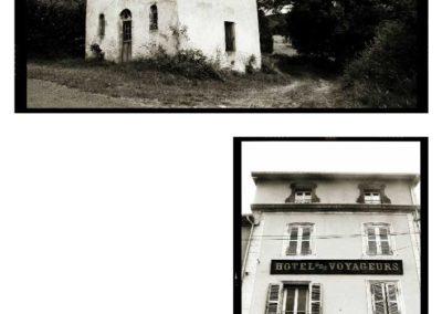 petite église de campagne et facade d'hotel en auvergne